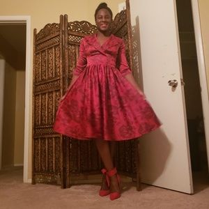 Red Pinup A Line Dress XS